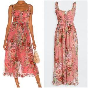 Zimmermann Pink Silk Floral Corset Top Jumpsuit L